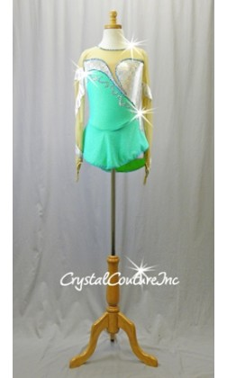 Green/Blue/Silver Long Sleeve Leotard Dress with Nude Mesh - Swarovski Rhinestones