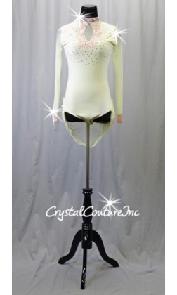 Ivory Long Sleeve Lycra & Sheer Mesh Leotard with Pink Lace & Short Back Skirt - Rhinestones