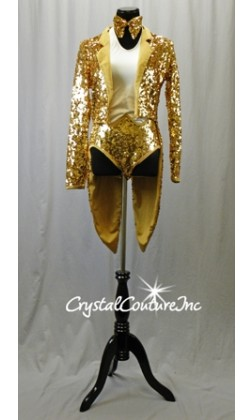 White/Gold Halter Leotard with Gold Sequined Jacket with Tails