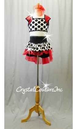 Black/White Polka Dot Top and Booty Shorts/Skirt with Red Accents - Rhinestones