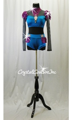 Teal Blue & Purple Lace 2 Pc Top and Booty Shorts - Rhinestones