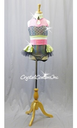 Lime/Pink/Black with Silver Polka Dots Top & High-Waisted Trunks/Skirt - Swarovski Rhinestones