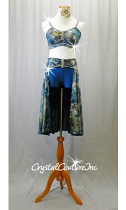 Teal/Gold/Grey Patterned Top and Back Skirt/Teal Blue Booty Shorts - Rhinestones