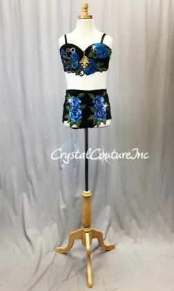 Black Lace Bra Top and Trunks with Blue and Green Floral Applique - Rhinestones
