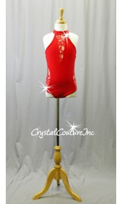 Red Leotard with Lace Cut-Outs and Open Back - Swarovski Rhinestones - Size YM