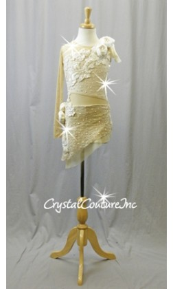 Nude/Ivory Lace Dress/Booty Short with Beaded/Pearl Applique - Swarovski Rhinestones - Size YL