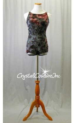 Charcoal Gray, Black, Ruby Red Leotard with Open Back