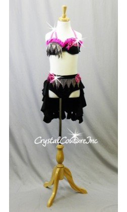 Black/Pink Bra Top and Trunks with Ruffled Back Skirt and Fringe - Swarovski Rhinestones