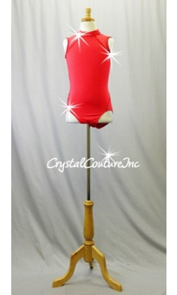 Red Lycra Leotard with Mesh Sheer Shoulders and Side Hips - Swarovski Rhinestones - Size AXS