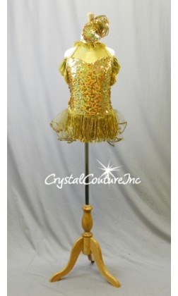 Gold Sequined Leotard with Off-Shoulder Sleeves and Back Skirt/Bow