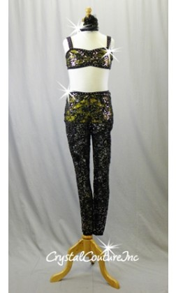 Black Lace and Yellow Lycra Top & Trunks with Lace Leggings - Swarovski Rhinestones