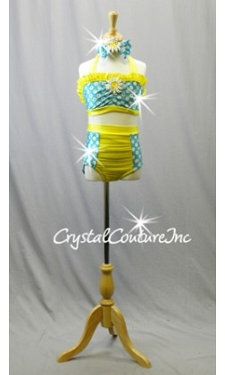Teal Blue and White Polka Dot 2-Piece with Yellow Ruffles and Trim - Swarovski Rhinestones