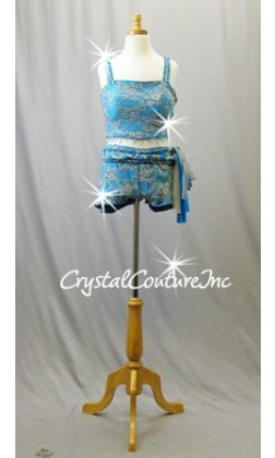 Turquoise Blue with Grey Lace Crop Top and Booty Shorts - Swarovski Rhinestones