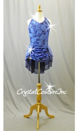 Periwinkle Leotard with Floral Lace and Chiffon Back Skirt - Swarovski Rhinestones - Size YL