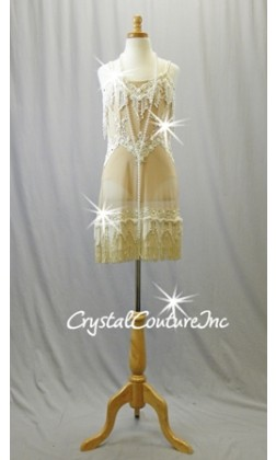 Nude Sheer Dress with Ivory Embroidered Trim and Fringe - Swarovski Rhinestones