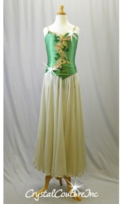 Green Corset Leotard with Lt Tan Skirt - Appliques - Swarovski Rhinestones - Size AXS