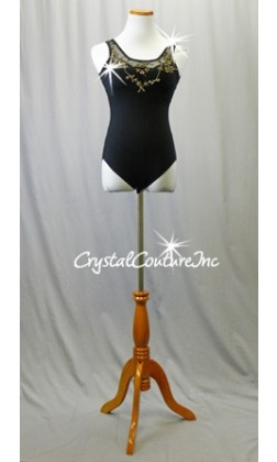 Black Leotard and Crepe Skirt with Black/Gold Appliques - Swarovski Rhinestones - Size AS