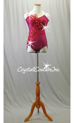 Ruby Leotard with Red Embroidered Floral Appliques - Swarovski Rhinestones