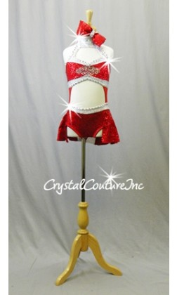 Red/Silver Zsa Zsa Sequin Connected Top and Trunks with Red Mesh - Swarovski Rhinestones