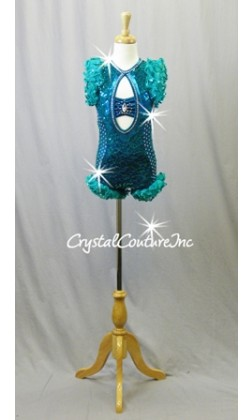 Teal Blue Lace and Sequin Bike-a-Tard with Ruffles - Swarovski Rhinestones