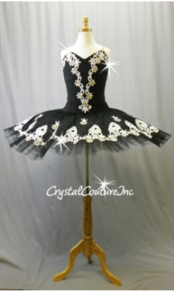 Black Platter Tutu with White Lace - Swarovski Rhinestones - Size AS