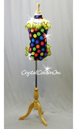 Black Polka Dot Leotard with Yellow Ruffles - Swarovski Rhinestones - Size YS