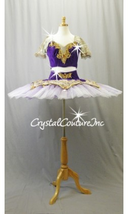 Purple and Nude 2 Piece Top and Platter Tutu with Gold Accents - Swarovski Rhinestones - Size AXS