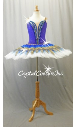 Royal Blue, Teal Blue & White Platter Tutu with Gold Accents - Swarovski Rhinestones