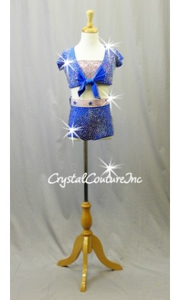 Blue and Pink 3 piece Crop Jacket, Shorts with Pink Bra Top -  Rhinestones