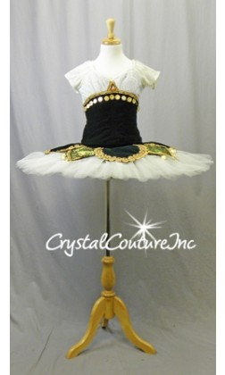 Dark Green Velvet and Ivory Lace Platter Tutu with Gold Trims - Swarovski Rhinestones - Size YM