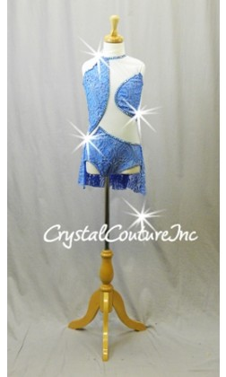 Lt Blue Lace and Mesh Leotard with Back Skirt - Swarovski Rhinestones