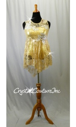 Gold Shimmer Leotard with Nude Floral Lace Overlay and Skirt - Swarovski Rhinestones