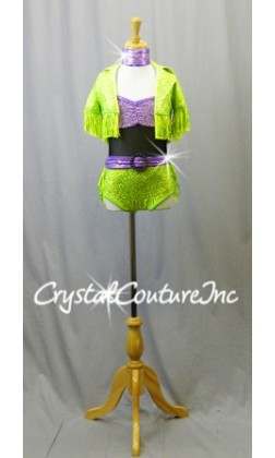 Purple and Lime Green Sequin Halter otard with GreenSequin  Fringe Jacket