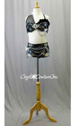 Black Floral Lace with Silver Holographic Bra-Top and Trunk - Swarovski Rhinestones