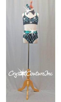 Dark Teal Blue and Black Connected 2 Piece Top and Trunk - Swarovski Rhinestones