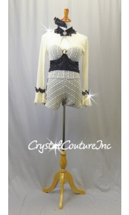 Ivory Mesh Lace 2 Piece Crop Top and Shorts with Black Lycra Base - Swarovski Rhinestones - Size AM