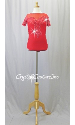 Red Lycra and Open-Net Leotard with Embroidered Appliques - Swarovski Rhinestones