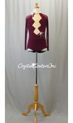 Burgundy Mesh Leotard with Long Sleeves and Appliques - Swarovski Rhinestones
