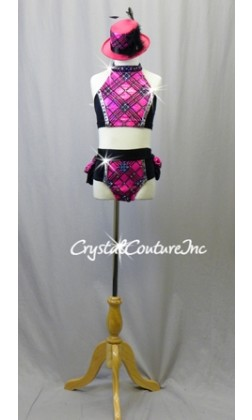 Pink and Black Pattern Top and Trunks with Ruffle Skirt - Swarovski Rhinestones