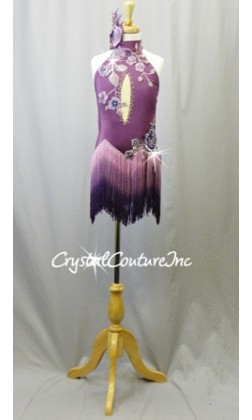 Purple Leotard with Ombre Fringe Skirt and Appliques - Swarovski Rhinestones