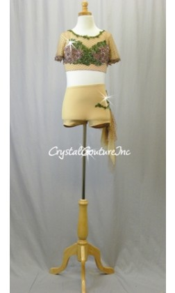 Nude Net Crop Top and Nude Trunks with Brown & Green Beaded Appliques