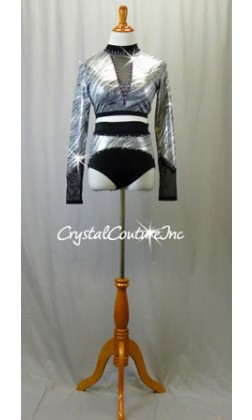 Silver and Black Patterned Long Sleeve Top and Trunks - Swarovski Rhinestones