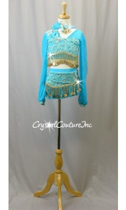 Turquoise Mesh and Lace Long Sleeve Top and Skirt/Trunk with Gold Beads - Swarovski Rhinestones