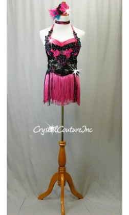 Black Floral Lace Leotard with Pink Accents/Fringe Skirt - Swarovski Rhinestones
