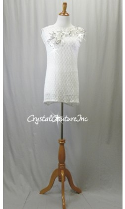 White Lace/Net Shift Dress with Booty Shorts - Swarovski Rhinestones - Size AL