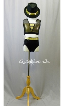 Black and Shimmery Gold Top and Trunk - Swarovski Rhinestones