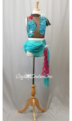 Teal Blue & Brown Sheer Top and Trunk/Skirt with Beaded Appliques