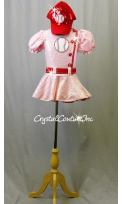 Pink Zsa Zsa Sequin Dress with Red trim and Baseball Patch - Swarovski Rhinestones