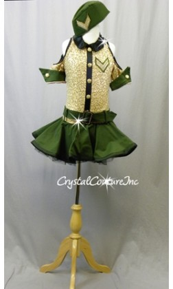 Olive Green and Nude Zsa Zsa Sequin One Piece with Skirt - Swarovski Rhinestones