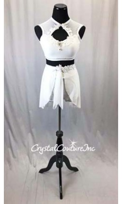 White/Silver Holographic Flecked 2 Pc Crop Top and High Waist Short w/separate Skirt - Size AM